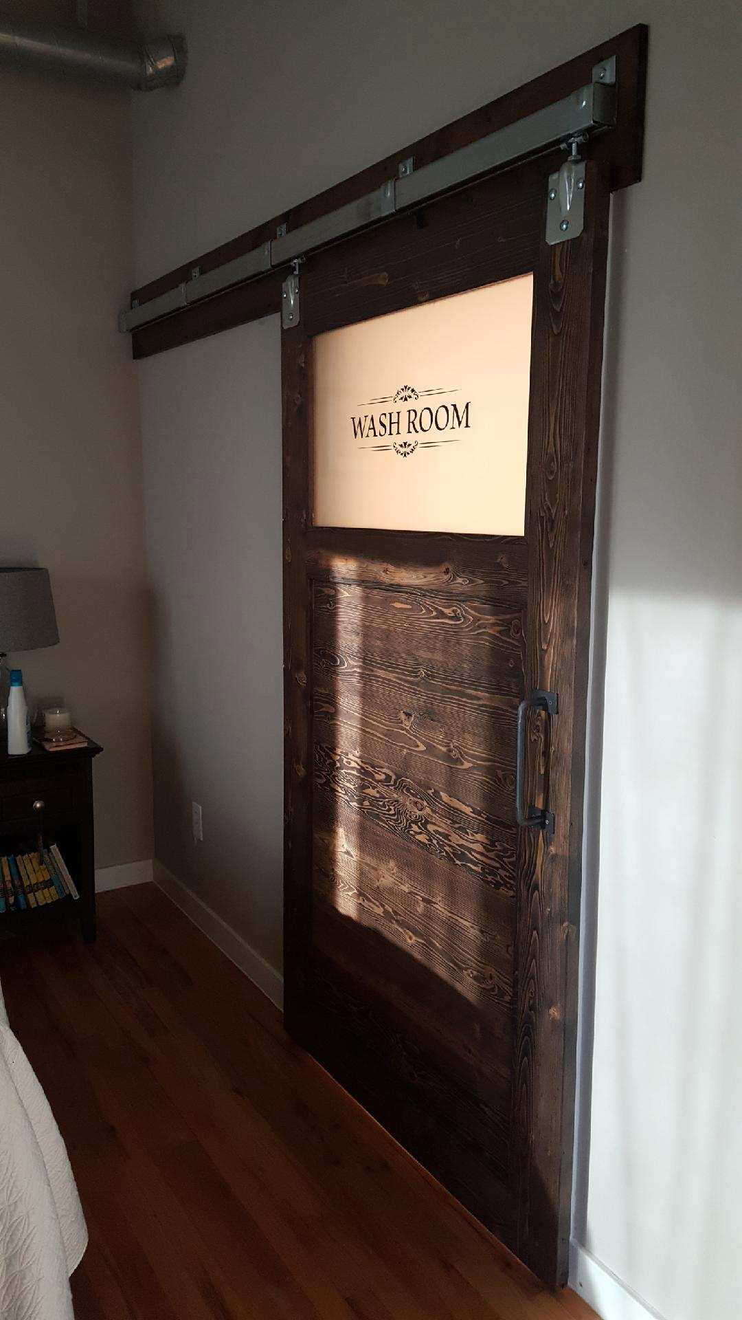sliding barn door with window - wash room