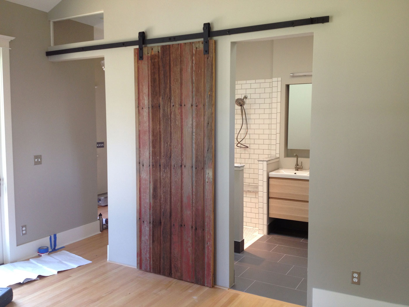 sliding-barn-door reclaimed wood