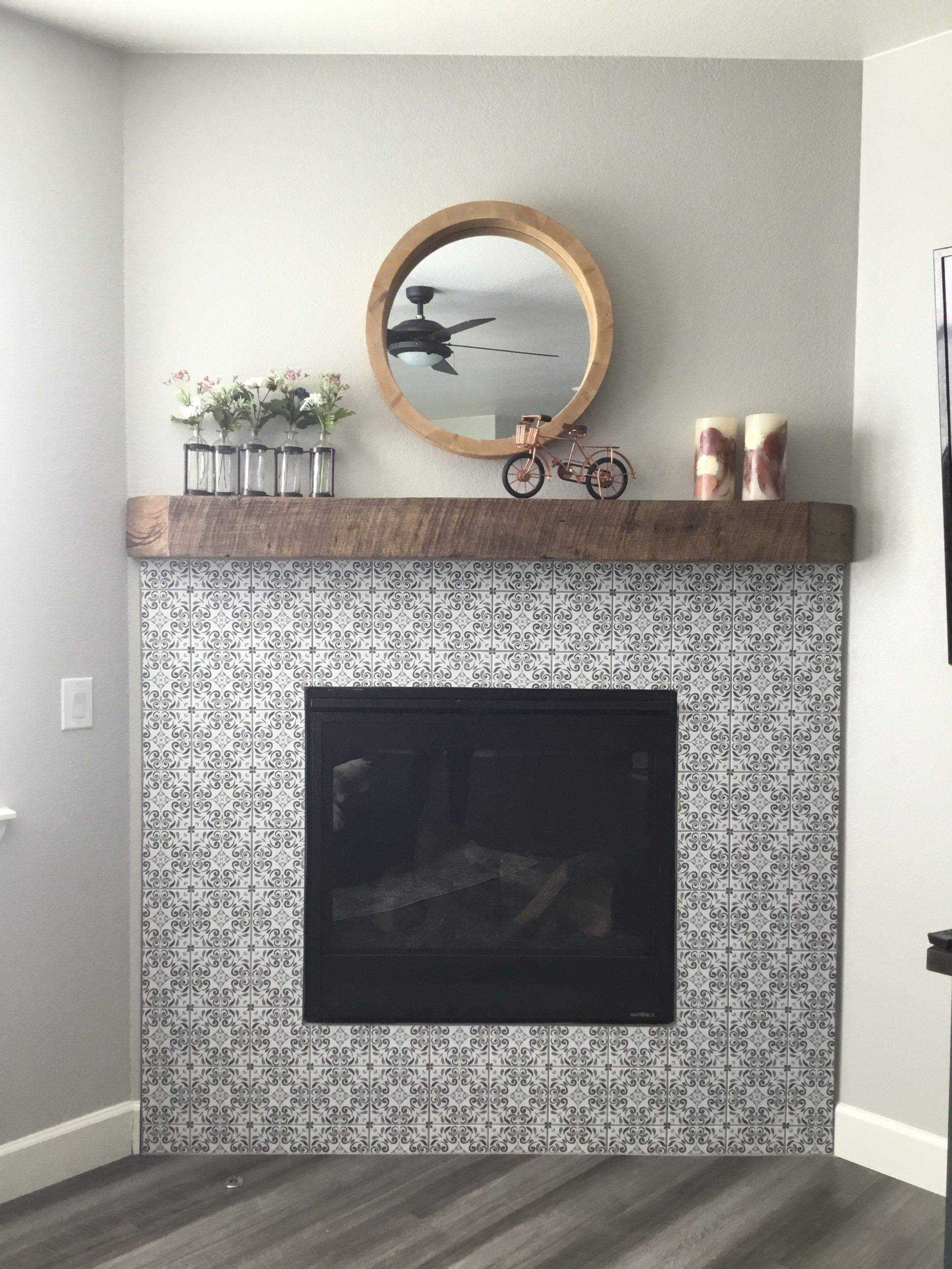 reclaimed barnwood fireplace mantel