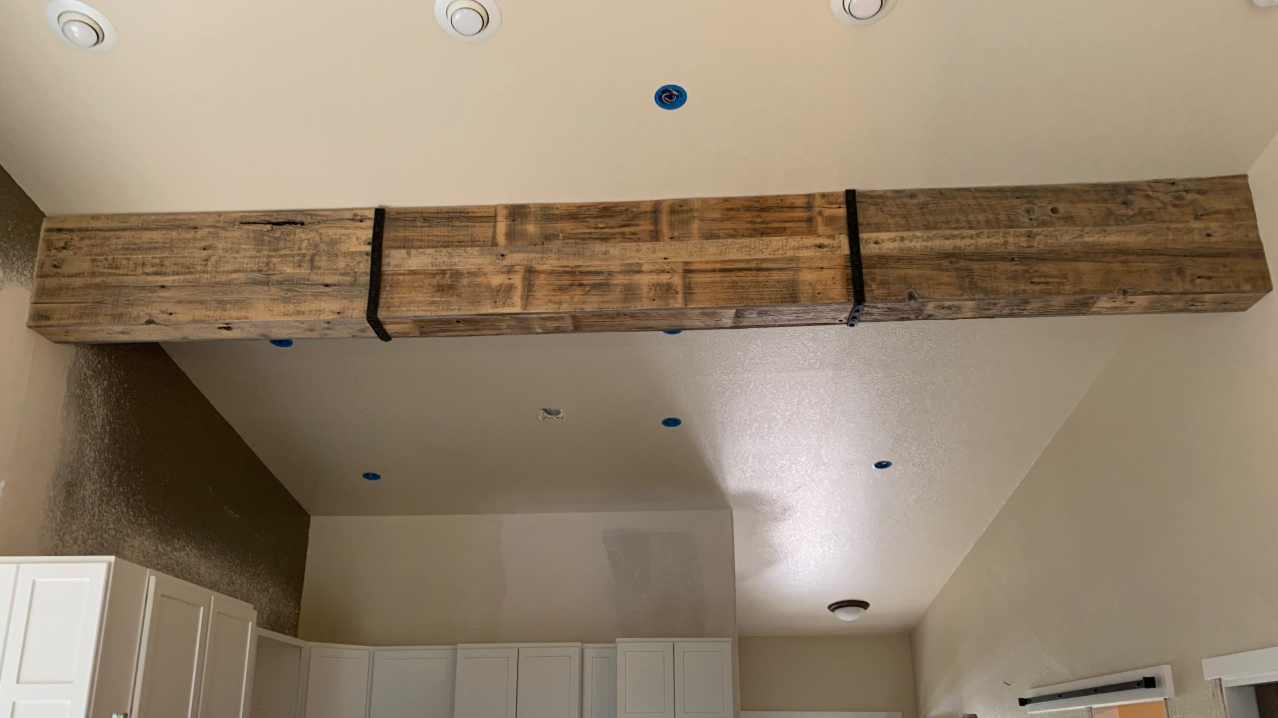 reclaimed wood beam wrap